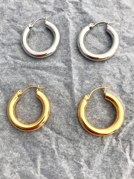 LI MUMU Titanium Steel Hoop Minimalist Hoop Earring for two colors 1