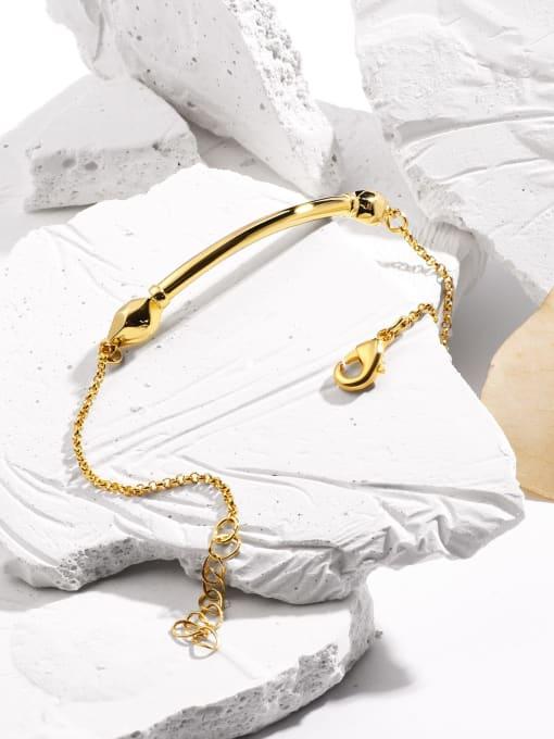 CHARME Brass Rhinestone Geometric Minimalist Link Bracelet 2