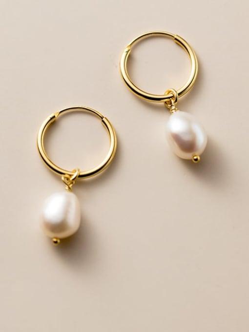 Rosh 925 Sterling Silver Imitation Pearl Geometric Minimalist Huggie Earring