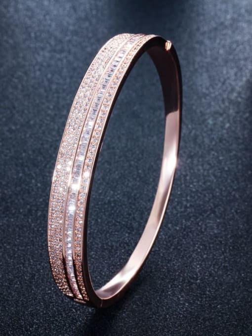 rose gold Brass Cubic Zirconia Geometric Luxury Band Bangle