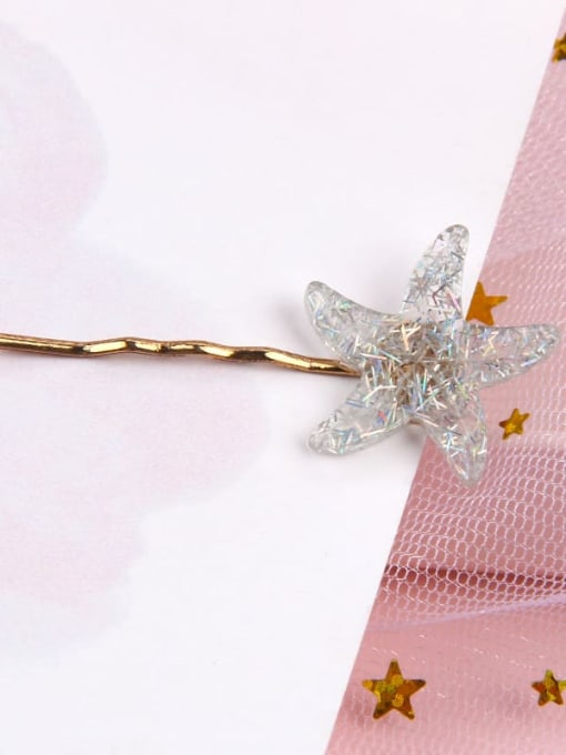 Starfish colorful grey Alloy Cellulose Acetate Minimalist Heart Hair Pin