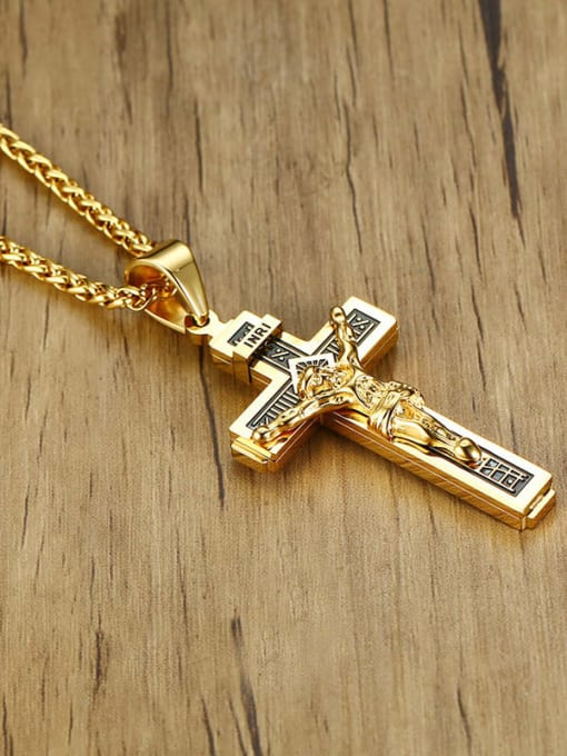 CONG Stainless steel Cross Vintage Regligious Necklace 3