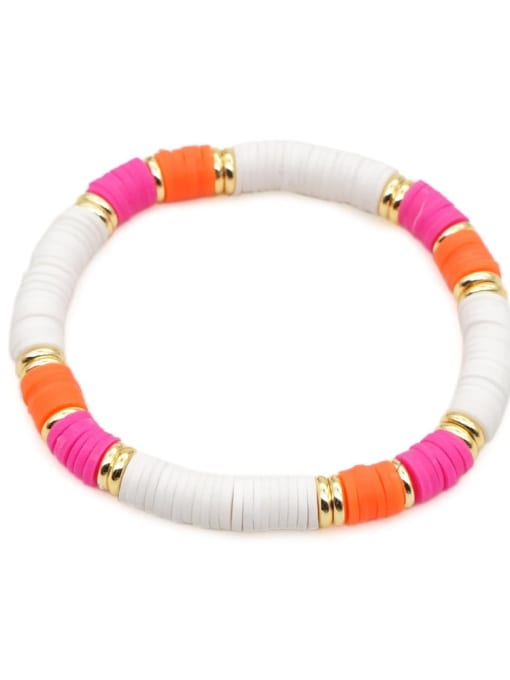 QT B200167C Stainless steel Multi Color Polymer Clay Letter Bohemia Stretch Bracelet