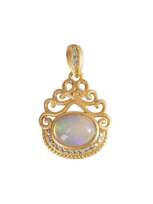 DEER 925 Sterling Silver Opal Vintage Irregular  Pendant 0