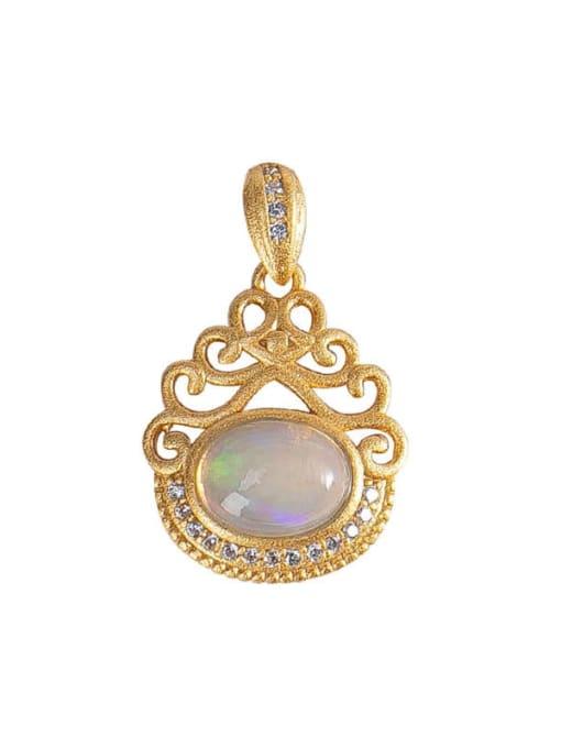 DEER 925 Sterling Silver Opal Vintage Irregular  Pendant