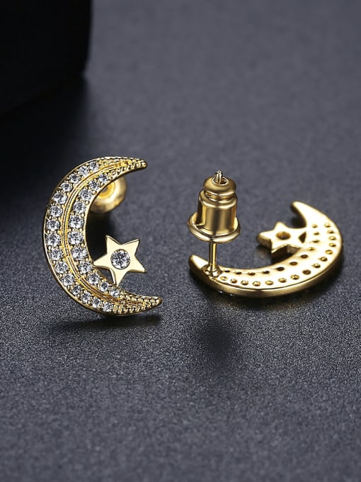 BLING SU Copper Cubic Zirconia Moon Classic Stud Earring 2
