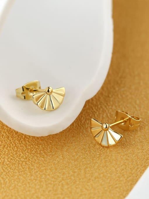 CHARME Brass Imitation Pearl Geometric Minimalist Stud Earring 1