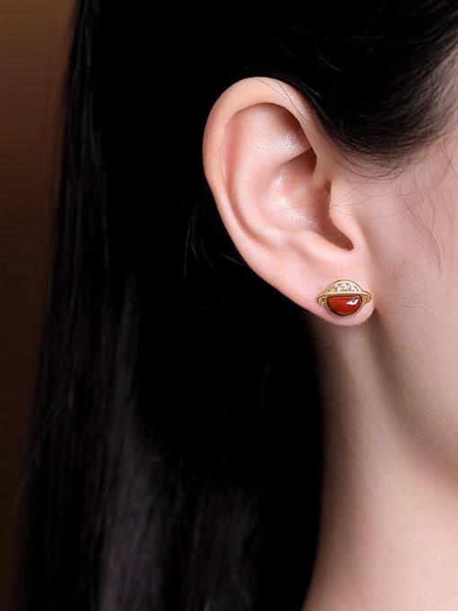 DEER 925 Sterling Silver Jade Star Vintage Stud Earring 1