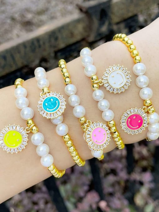 CC Brass Imitation Pearl Enamel Smiley Trend Beaded Bracelet 1