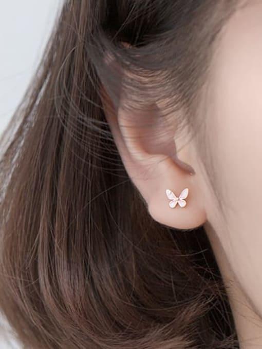 Rosh 925 Sterling Silver Enamel Butterfly Minimalist Stud Earring 2