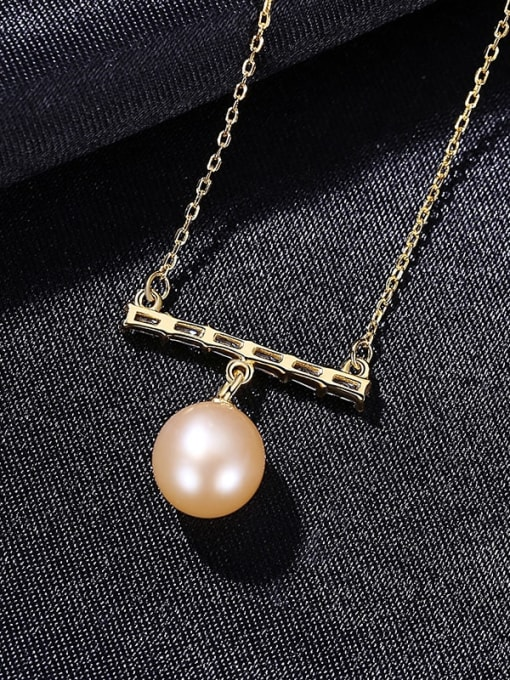 PinK 8D06 925 Sterling Silver Freshwater Pearl Geometric Dainty Necklace