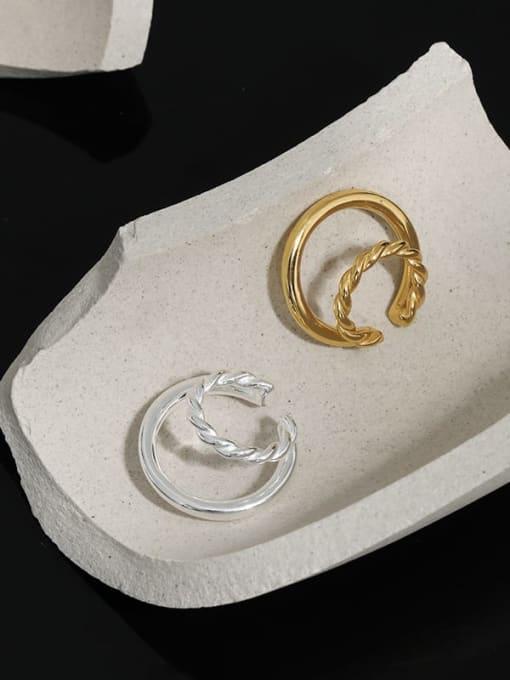 DAKA 925 Sterling Silver Geometric Minimalist C-shaped twist Clip Earring 1
