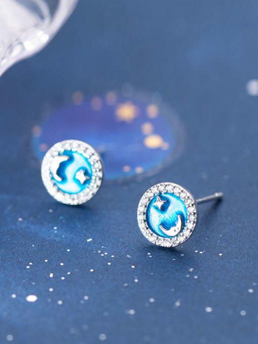 Rosh 925 Sterling Silver Cubic Zirconia Enamel Round Minimalist Stud Earring 2