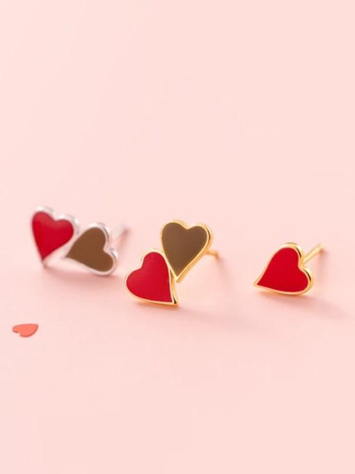 Rosh 925 Sterling Silver Enamel Heart Minimalist Stud Earring 2