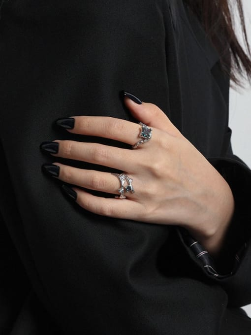 DAKA 925 Sterling Silver Glass Stone Geometric Vintage Band Ring 2
