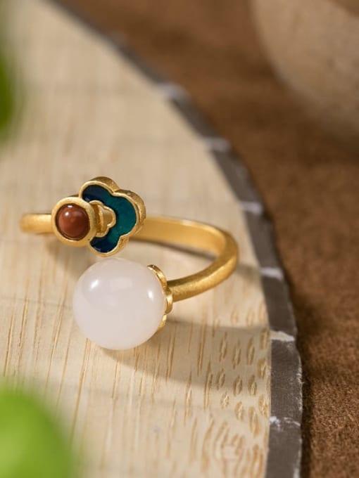 Ring 925 Sterling Silver Jade Enamel Flower Vintage Drop Earring