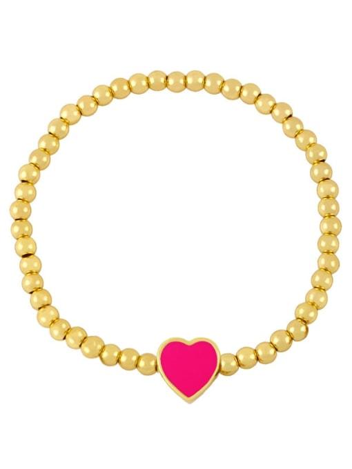 D (Rose) Brass Enamel Heart Minimalist Beaded Bracelet