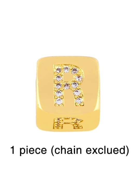 R Brass Cubic Zirconia square Letter Minimalist Adjustable Bracelet