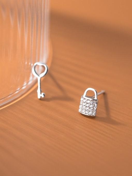 Rosh 925 Sterling Silver Cubic Zirconia Key Cute Stud Earring 1
