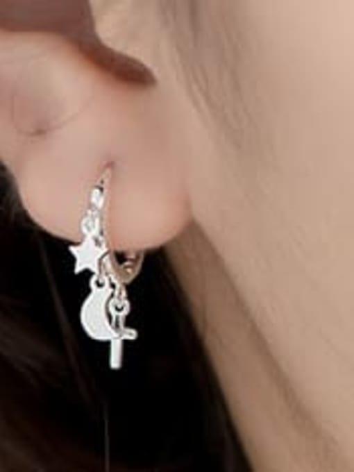 sliver 925 Sterling Silver Minimalist Simple Pentagram Moon Cross Huggie Earring