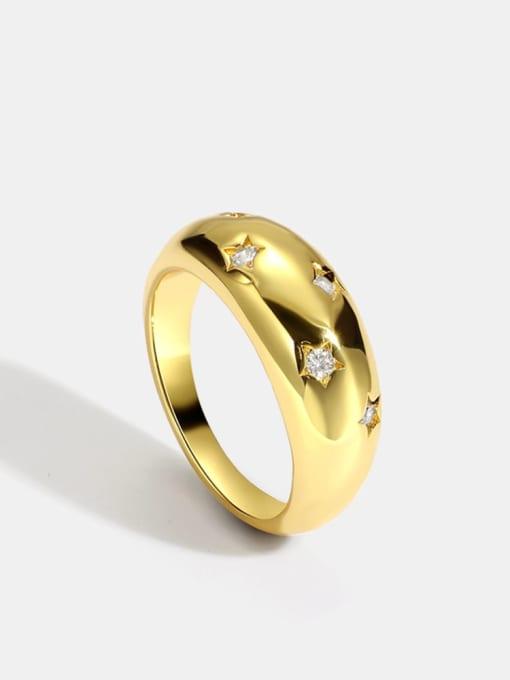 CHARME Brass Rhinestone Geometric Vintage Band Ring 0