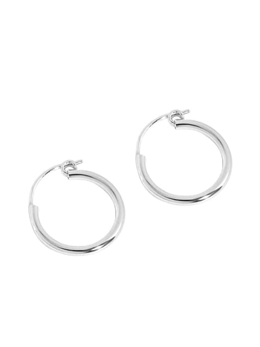silvery 925 Sterling Silver Smooth Round Minimalist Hoop Earring