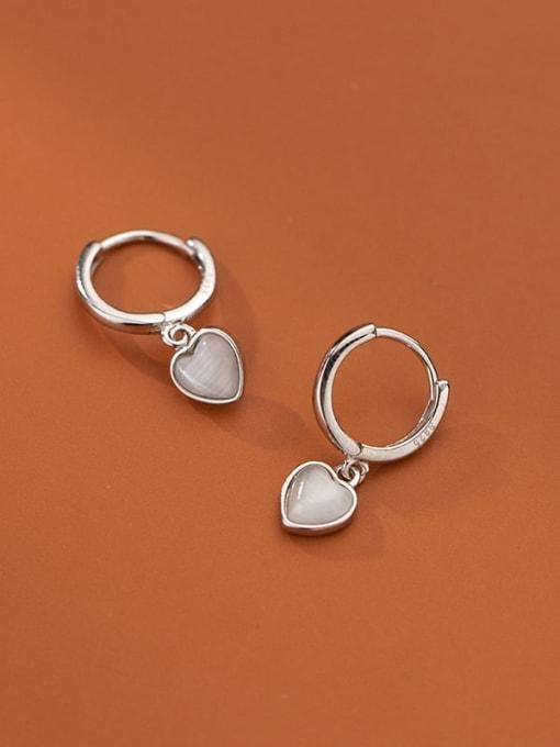 Rosh 925 Sterling Silver Cats Eye Heart Minimalist Huggie Earring 1