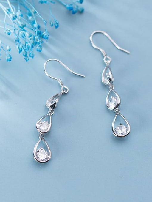 Rosh 925 Sterling Silver  Cubic Zirconia Water Drop Dainty Hook Earring