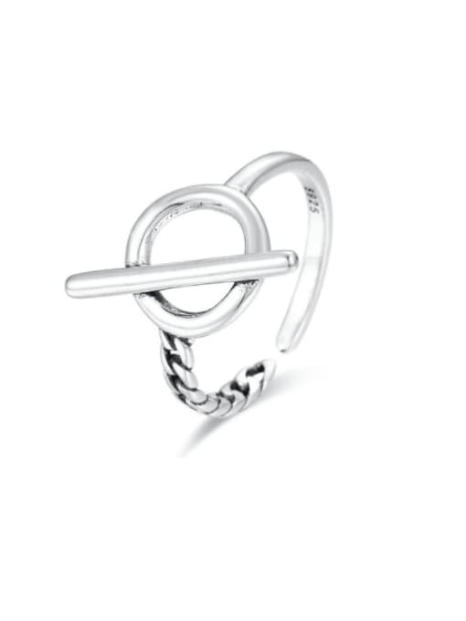 Boomer Cat 925 Sterling Silver Hollow Geometric Vintage Band Ring 0