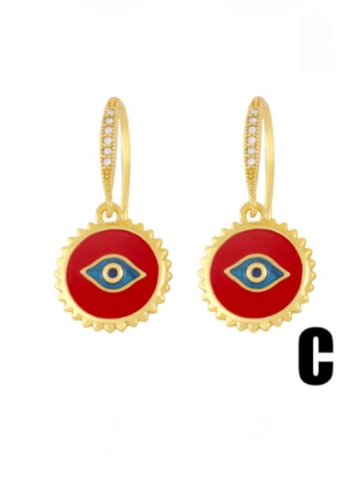 C (red eyes) Brass Enamel Crown Vintage Huggie Earring