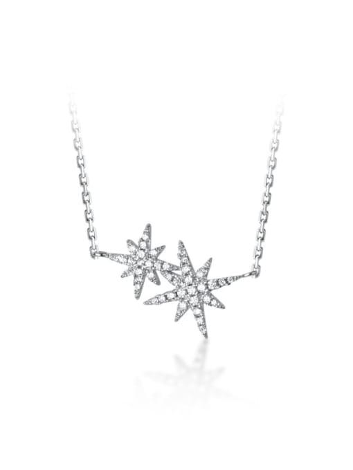 Rosh 925 Sterling Silver Rhinestone Star Minimalist Necklace