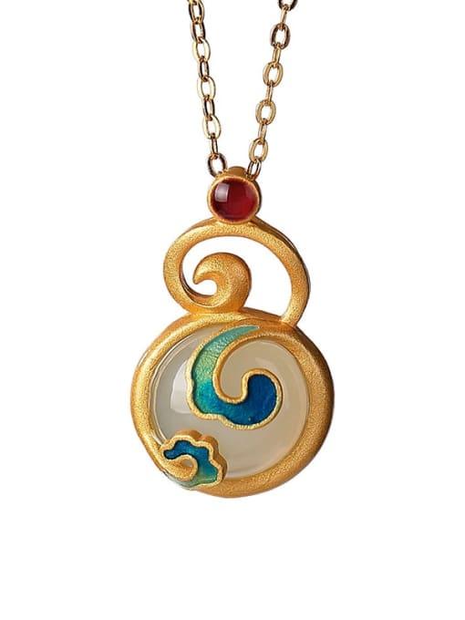 DEER 925 Sterling Silver Jade Enamel Vintage Geometric  Earring and Necklace Set 3