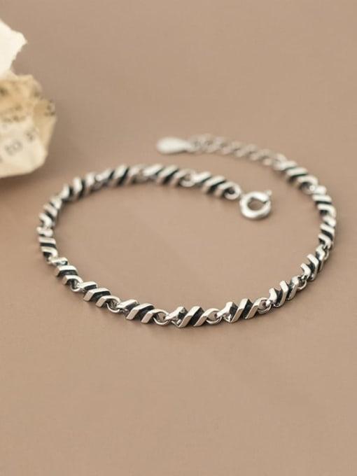 Rosh 925 Sterling Silver Irregular Vintage Link Bracelet 1