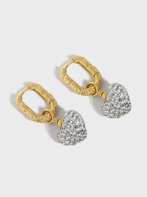 DAKA 925 Sterling Silver Cubic Zirconia Heart Vintage Huggie Earring
