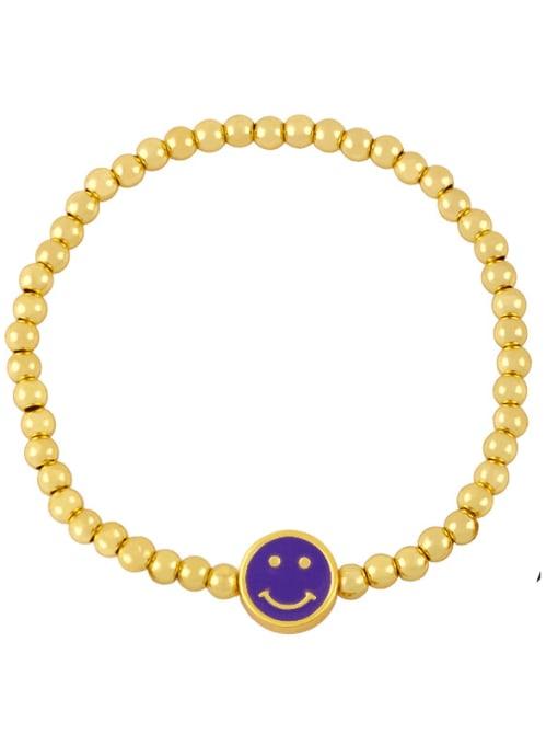 A (purple) Brass Enamel Smiley Vintage Beaded Bracelet
