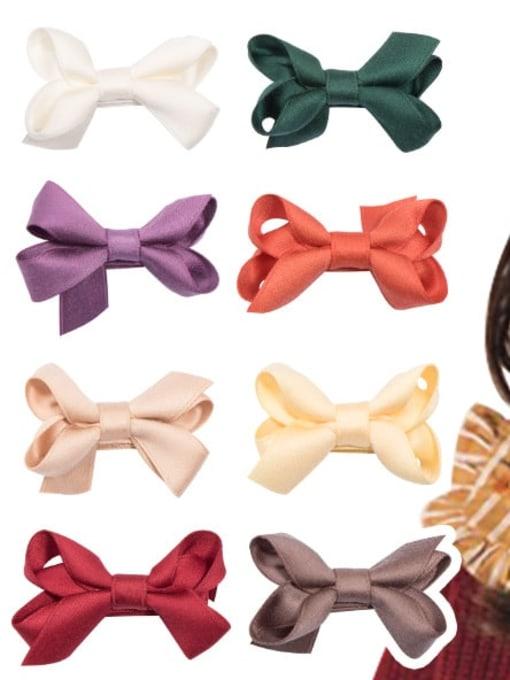 YOKI KIDS Alloy Fabric Cute Bowknot  Multi Color Hair Barrette 2