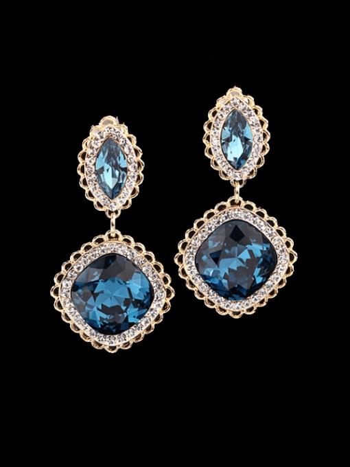 golden Brass Cubic Zirconia Geometric Vintage Drop Earring