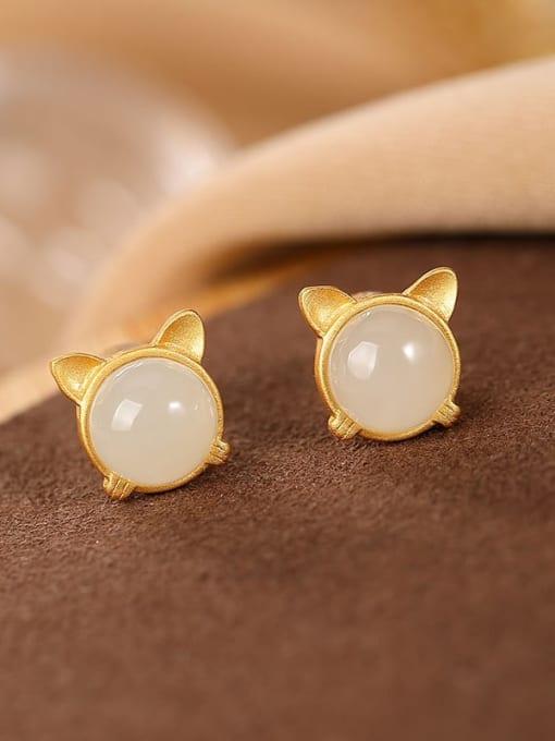 DEER 925 Sterling Silver Jade Cat Vintage Stud Earring 0
