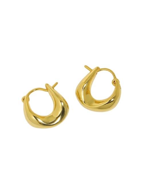 18K GOLD 925 Sterling Silver Geometric Vintage Huggie Earring