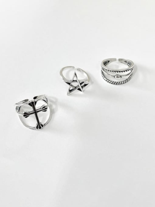 Boomer Cat 925 Sterling Silver Cross Minimalist Band Ring 0