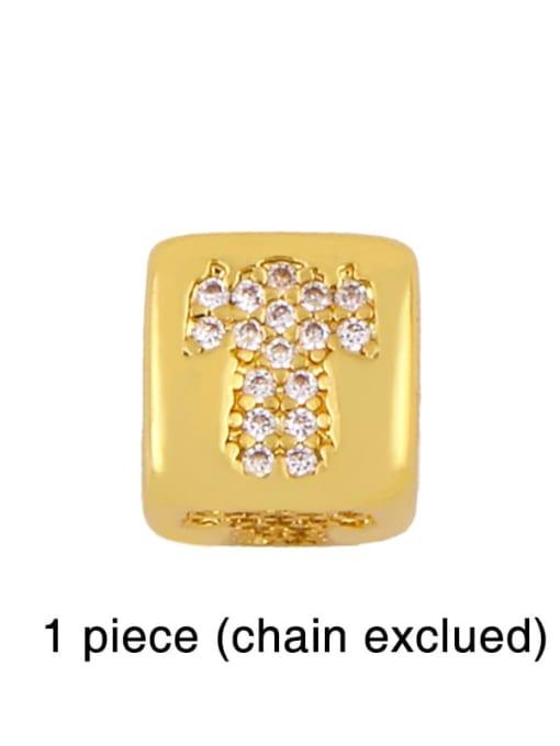 girl Brass Cubic Zirconia square Letter Minimalist Adjustable Bracelet