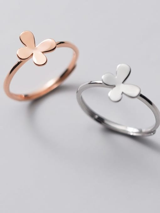 Rosh 925 Sterling Silver Butterfly Minimalist Band Ring