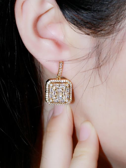 L.WIN Brass Cubic Zirconia Geometric Luxury Drop Earring 1