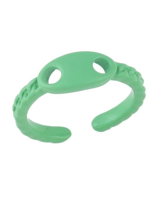Light green Brass Enamel Geometric Minimalist Band Ring