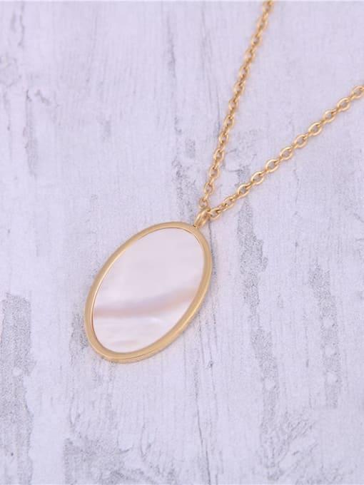 GROSE Titanium Steel Shell Oval Minimalist Necklace 0