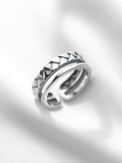Rosh 925 Sterling Silver Geometric Vintage Stackable Ring 0