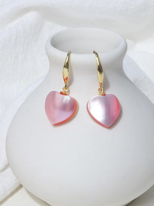 Pink earhook Brass Shell Minimalist Heart Earring and Necklace Set