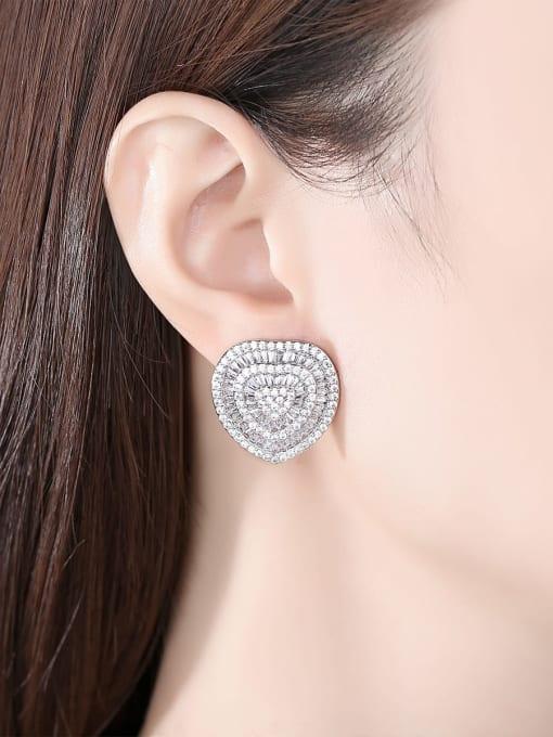 BLING SU Brass Cubic Zirconia Heart Luxury Stud Earring 1