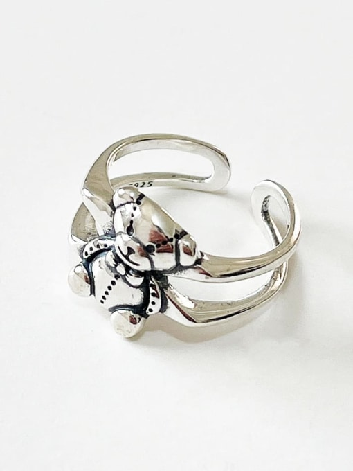 Boomer Cat 925 Sterling Silver Bear Vintage Band Ring 2