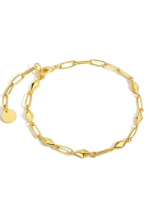 Gold Diamond plain gold bracelet Brass Geometric Minimalist Link Bracelet